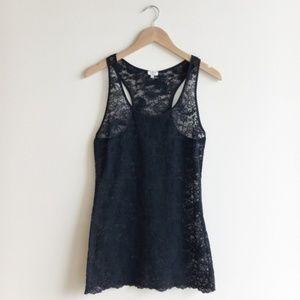Aritzia Wilfred Black Lace Tank Top